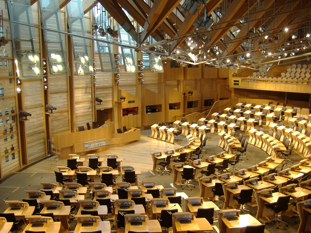 View of interior of Scottish Parliament
