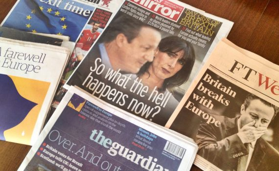 Newspapers from 25 June 2016 including the Mirror, with headline reading 'So what the hell happens now?'