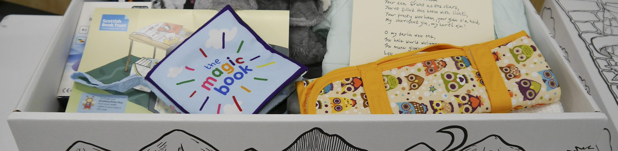 White cardboard box with baby books and clothes inside