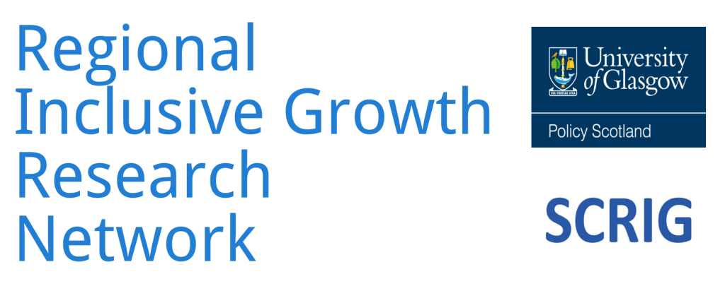 Graphic with the name Regional Inclusive Groweth resreach Netwiork with two logos: oenf roer POPlicty Scotland one for SCRIG, the Scotland's Centre for Regional Inclusive Growth