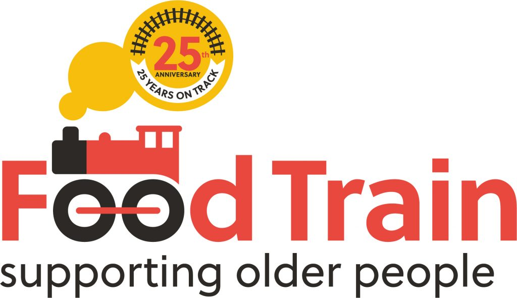 Logo of Food Train with a cartoon steam locomotive and the words 'Supporting older people ' underneath. It also includes the words '25th anniversary' and '25 years on track' inside a puff of smoke from the engine's chimney