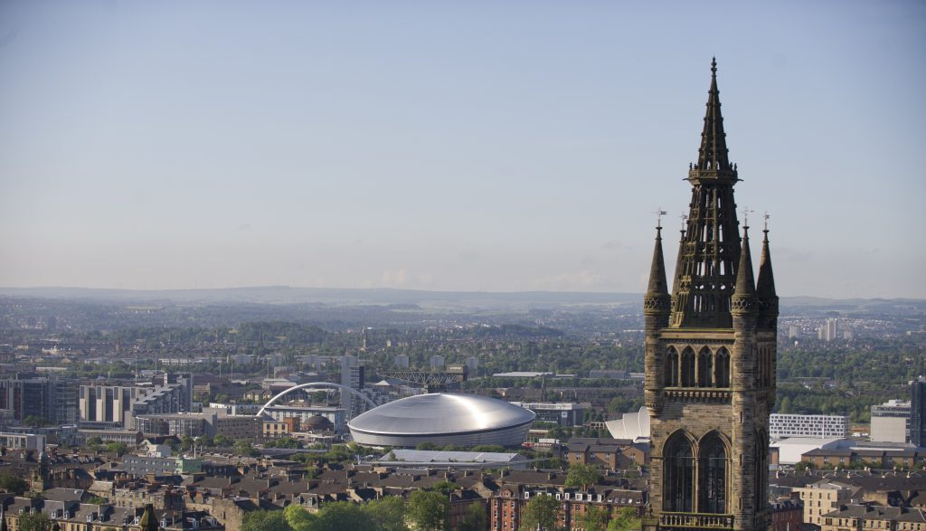 A view over the city of Glasgow to the south with the Glasgow University tower on the right