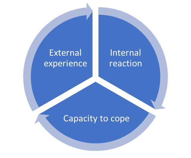 Shows a circle with separated into three equal parts. Around the edges of the parts run arrows going from, at the top right, 'Internal reaction' to 'Capacity to Cope' to 'External experience' and then 'Internal reaction' again
