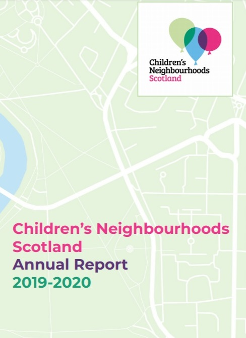 Cover of the Children's Neighbourhoods Scotland Annual Report 2019-2020 showing a graphic of a stylised map