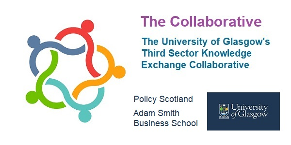 Line graphic representing five individuals - coloured lime green, turquoise, orange, red and blue - interlinked to create a circle. It includes the words 'The Collaborative, The University of Glasgow's Third Sector Knowledge Exchange. Policy Scotland. Adam Smith Business School' and the University of Glasgow logo