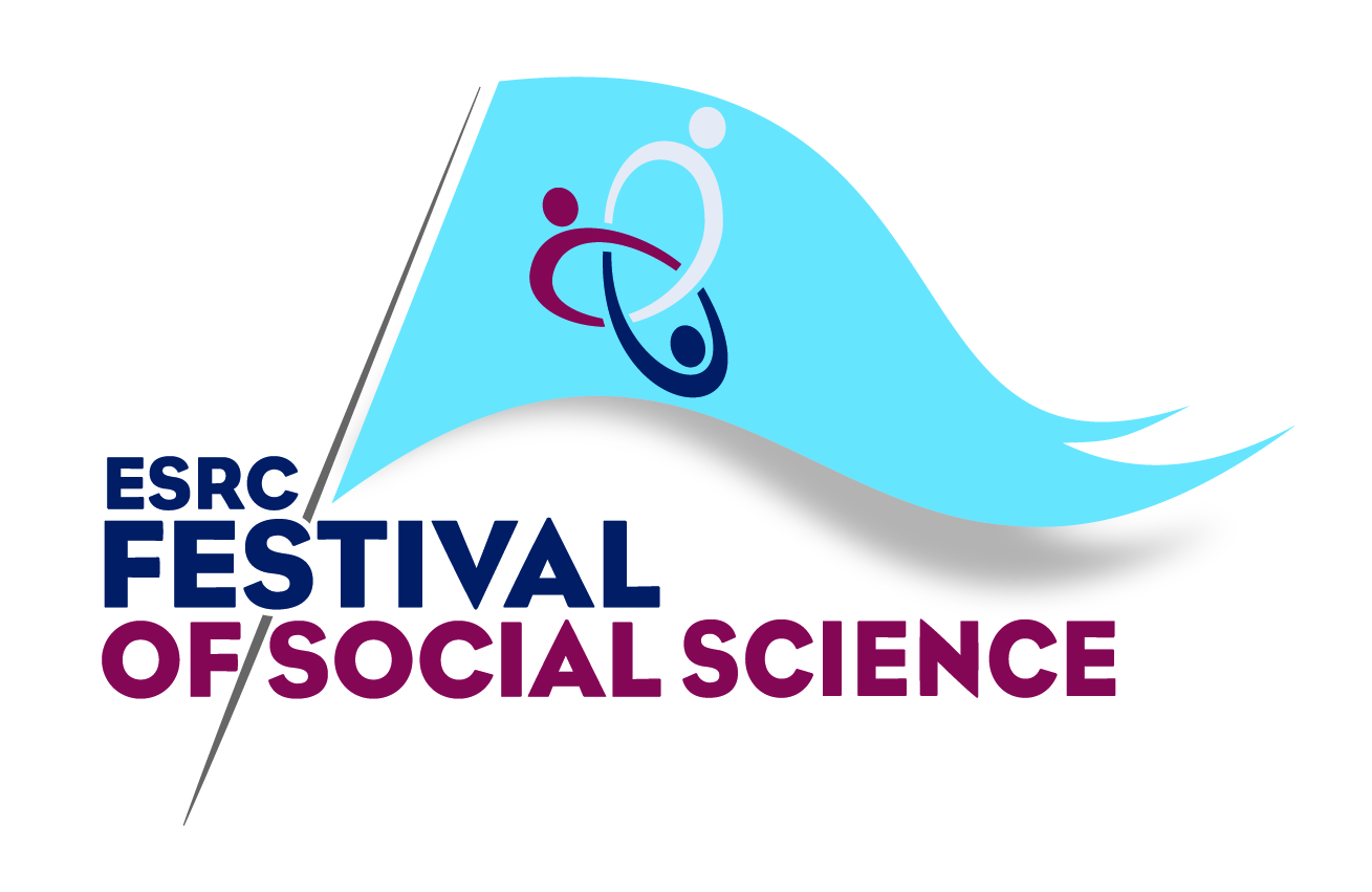 Graphic with the words ESRC Festival of Social Science and a flag planted through the words, which shows a representation of three interlinked people