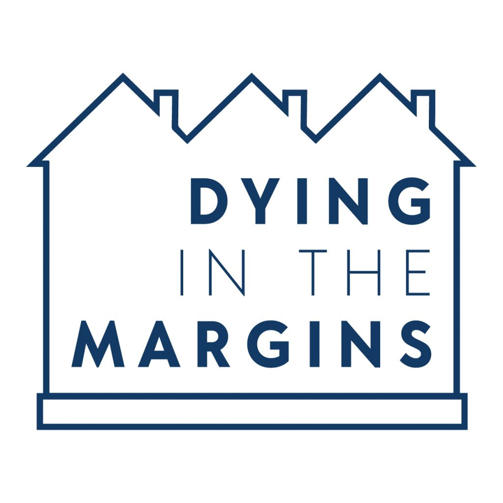 Logo with the text 'Dying in the Margins' inside an outline of three houses with pitched roofs and chimneys