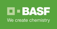 Logo of Badische Anilin-& Sodafabrik, with BASF in white text on a bright green background and precended with a paler green square outline and the central smaller square from inside the outline next to it. Underneath are the words 'We create chemistry'.