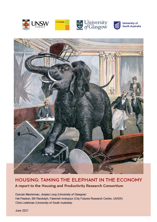 Cover of the report 'Housing: Taming the Elephant in the Economy' with an 19h century illustration of an elepant rampaging in a cafe. It has knocked over furniture and smashed a mirror on the wall with a chair it holds in its trunk , as the customers and waiters look on in shock